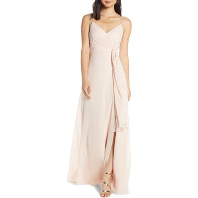Jenny Yoo Amara Chiffon Overlay V-Neck Evening Dress, Pink