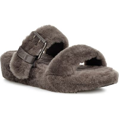 Ugg Fuzz Yeah Genuine Shearling Slipper, Grey