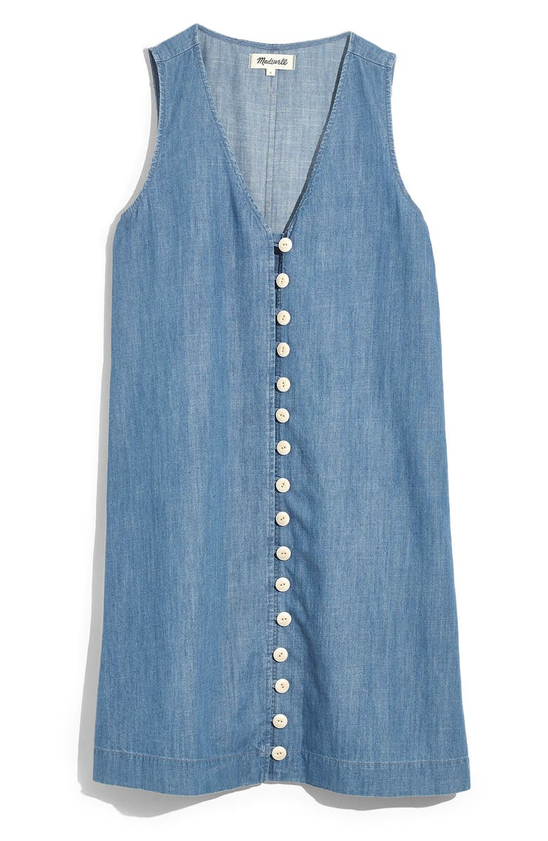 MADEWELL Easy Sleeveless Button Front Denim Dress, Main, color, 400