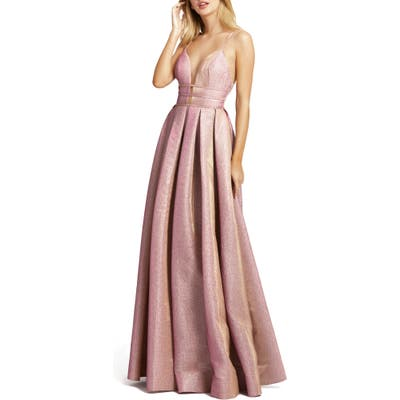 Ieena For MAC Duggal Metallic Plunge Neck Pleated Ballgown, Pink