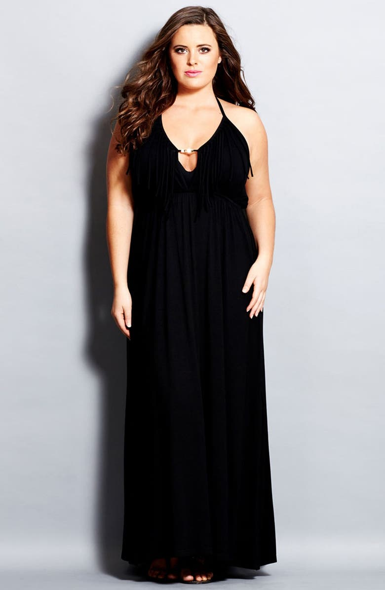 City Chic \'Festival\' Fringed Halter Maxi Dress (Plus Size ...