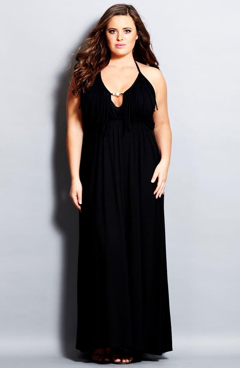 City Chic \'Festival\' Fringed Halter Maxi Dress (Plus Size ...