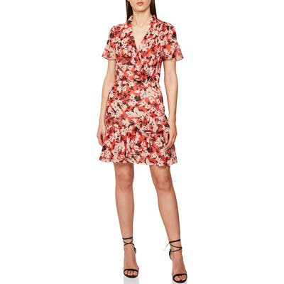 Reiss Marseille Floral Ruffle Detail Dress, US / 4 UK - Red