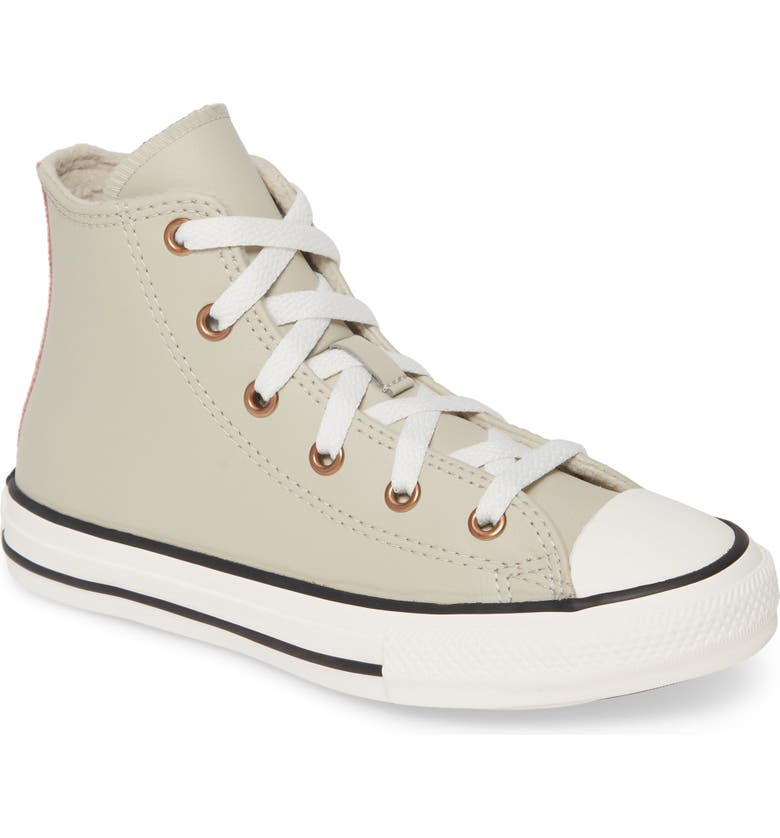 CONVERSE Chuck Taylor<sup>®</sup> All Star<sup>®</sup> Mission Leather High Top Sneaker, Main, color, BIRCH BARK/ COASTAL PINK