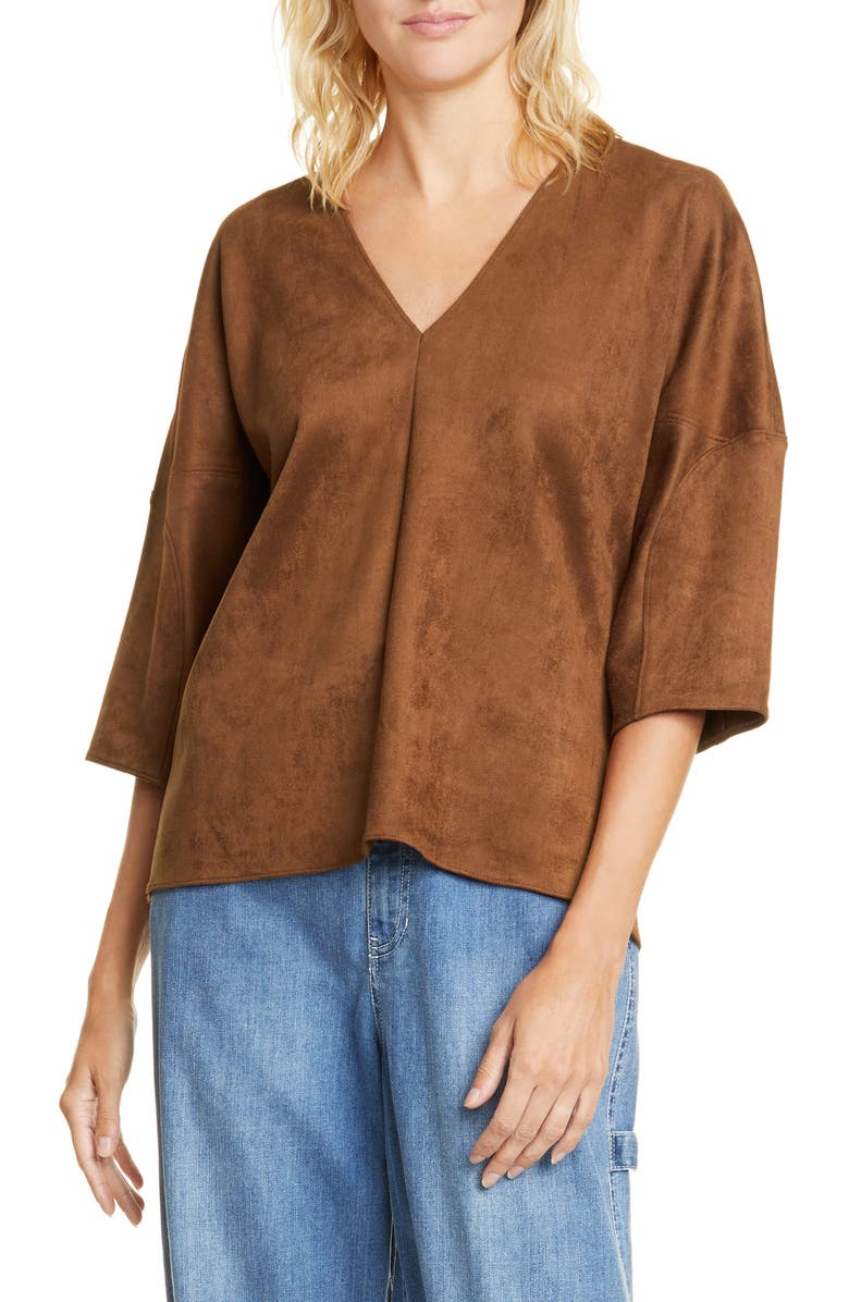 TIBI Sculpted Sleeve Faux Suede Top, Main, color, BROWN