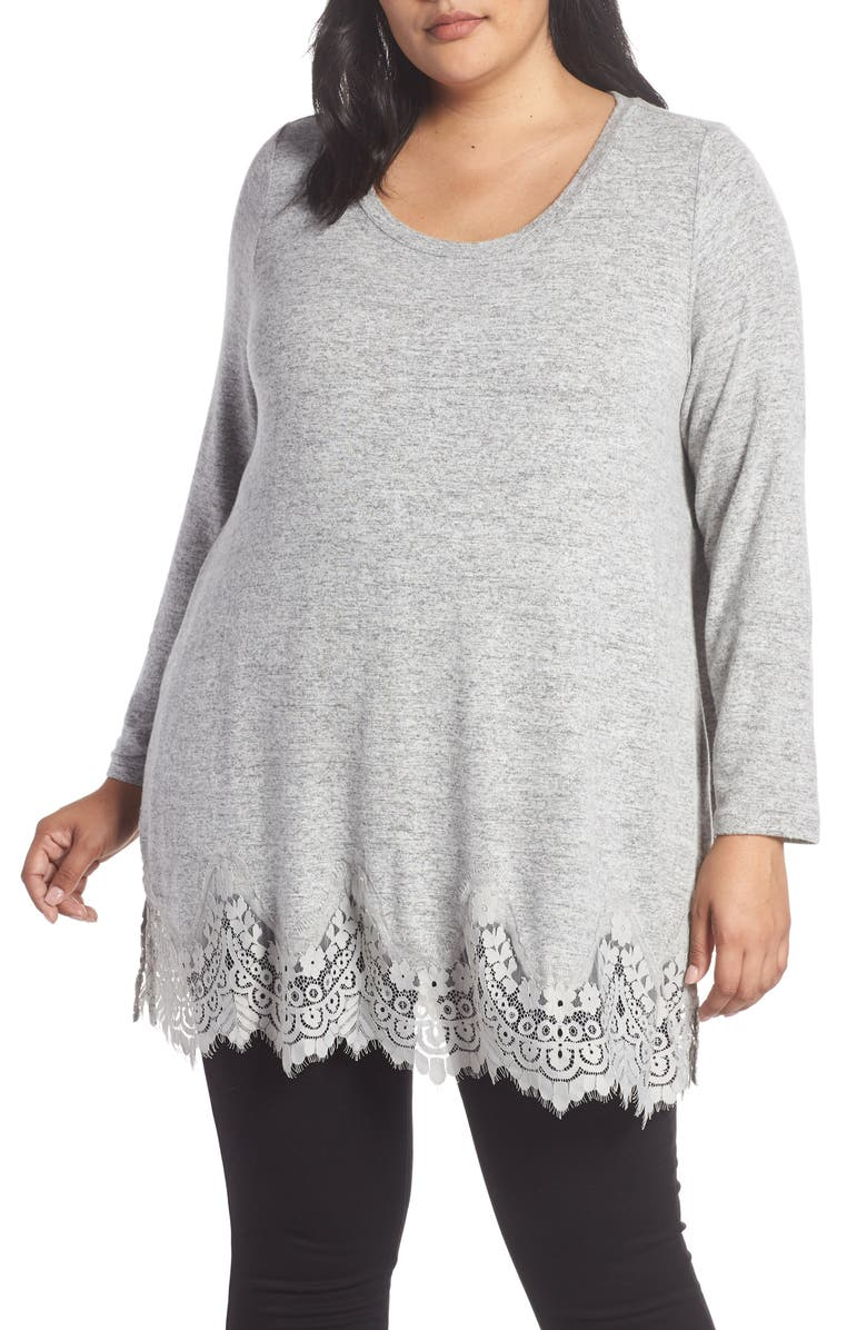 SEVEN7 Lace Hem Brushed Jersey Top, Main, color, LT. HEATHER GREY COMBO