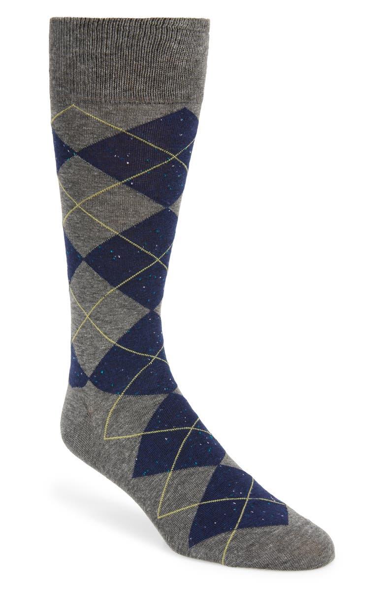 COLE HAAN Argyle Socks, Main, color, GREY HEATHER