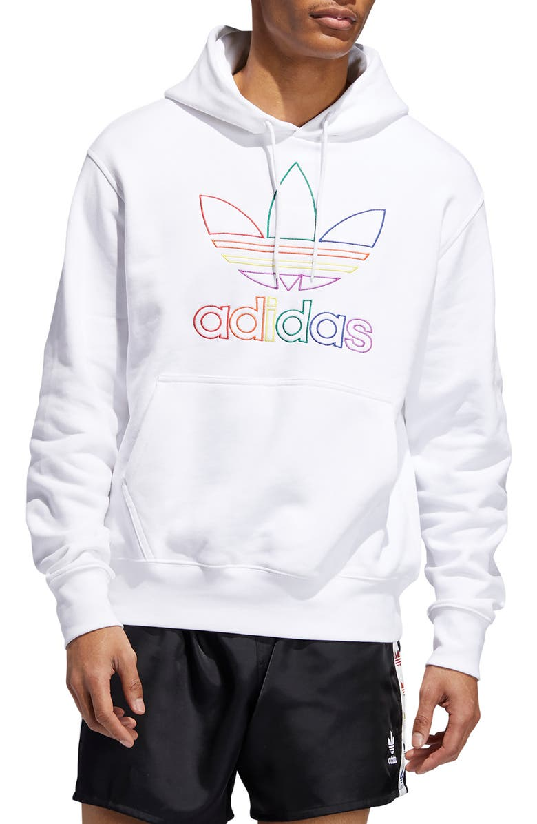ADIDAS ORIGINALS adidas Pride Embroidered Hooded Sweatshirt, Main, color, WHITE