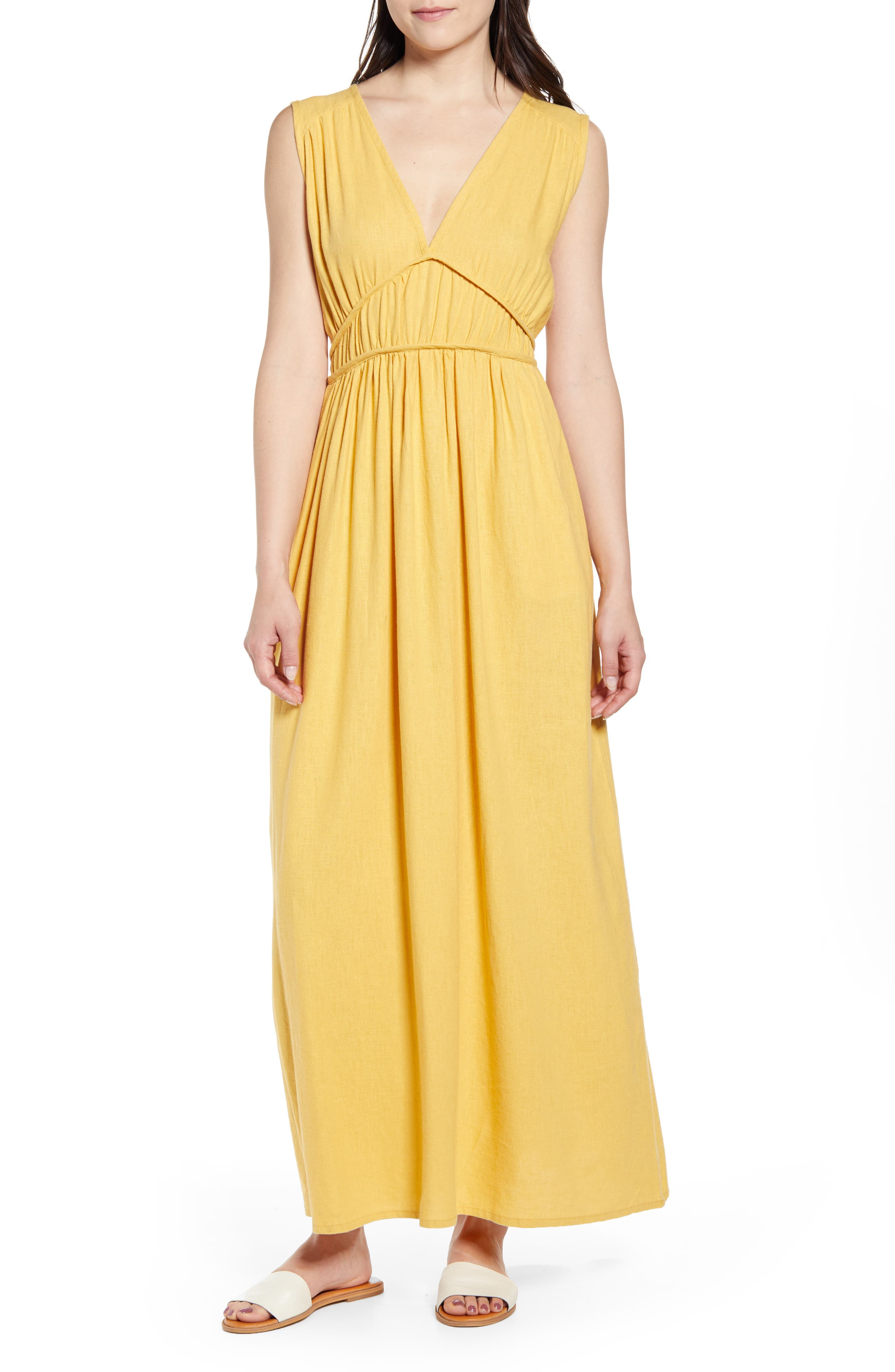 Caslon Favorite Linen Blend Maxi Dress, Yellow
