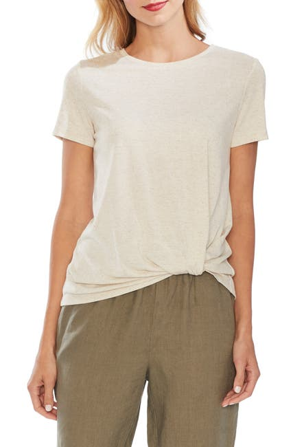 Image of Vince Camuto Twist Front Linen Blend T-Shirt