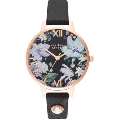 Olivia Burton Bejewelled Floral Leather Strap Watch,