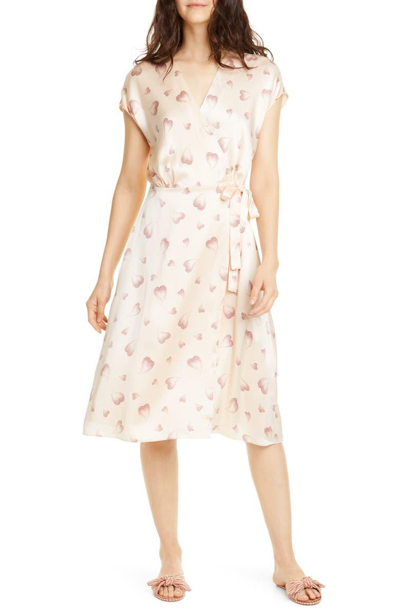 JOIE Bethwyn Heart Print Wrap Silk Dress, Main, color, 101