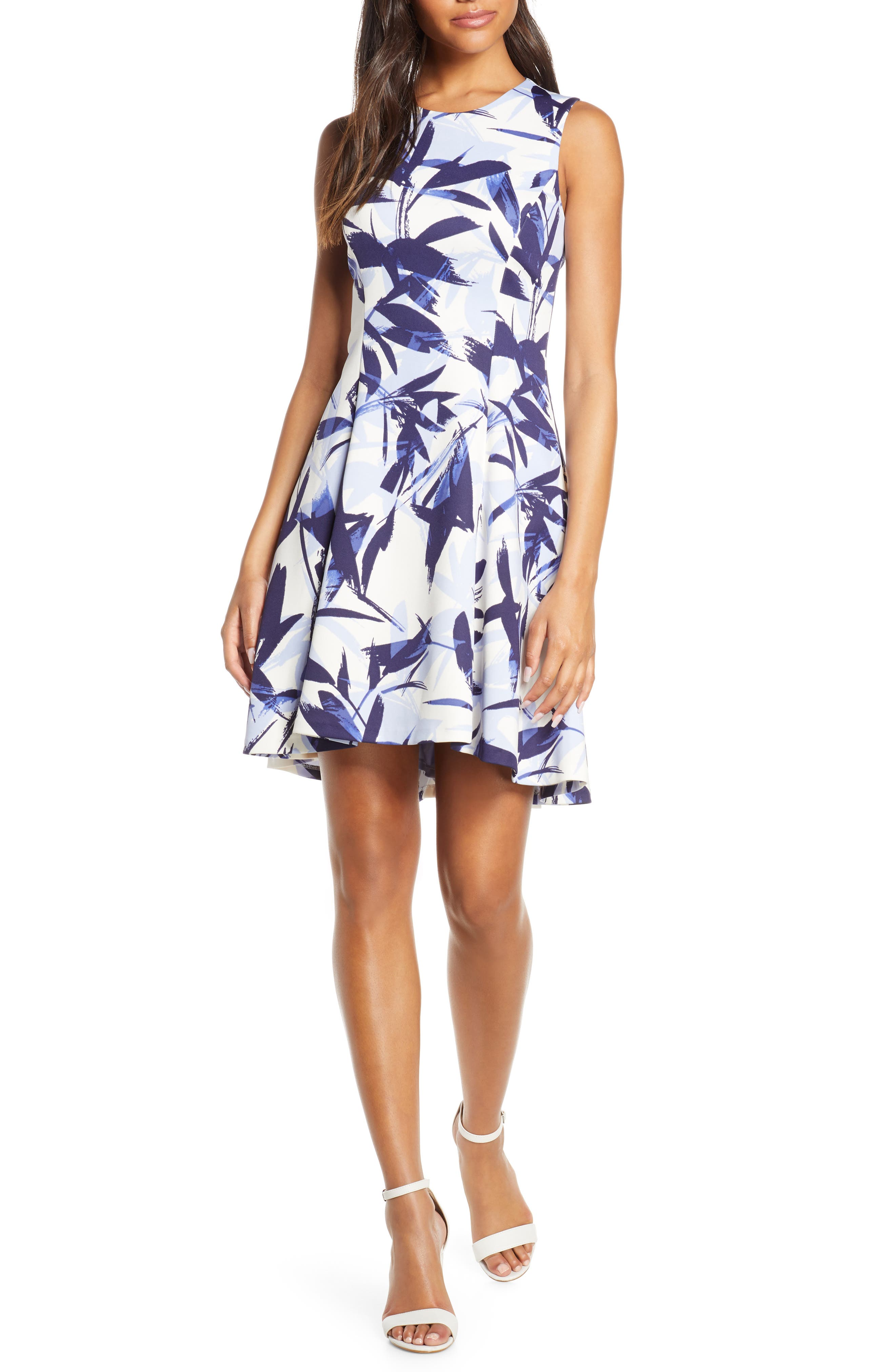 Petite Vince Camuto Floral High/low Fit & Flare Dress, Blue