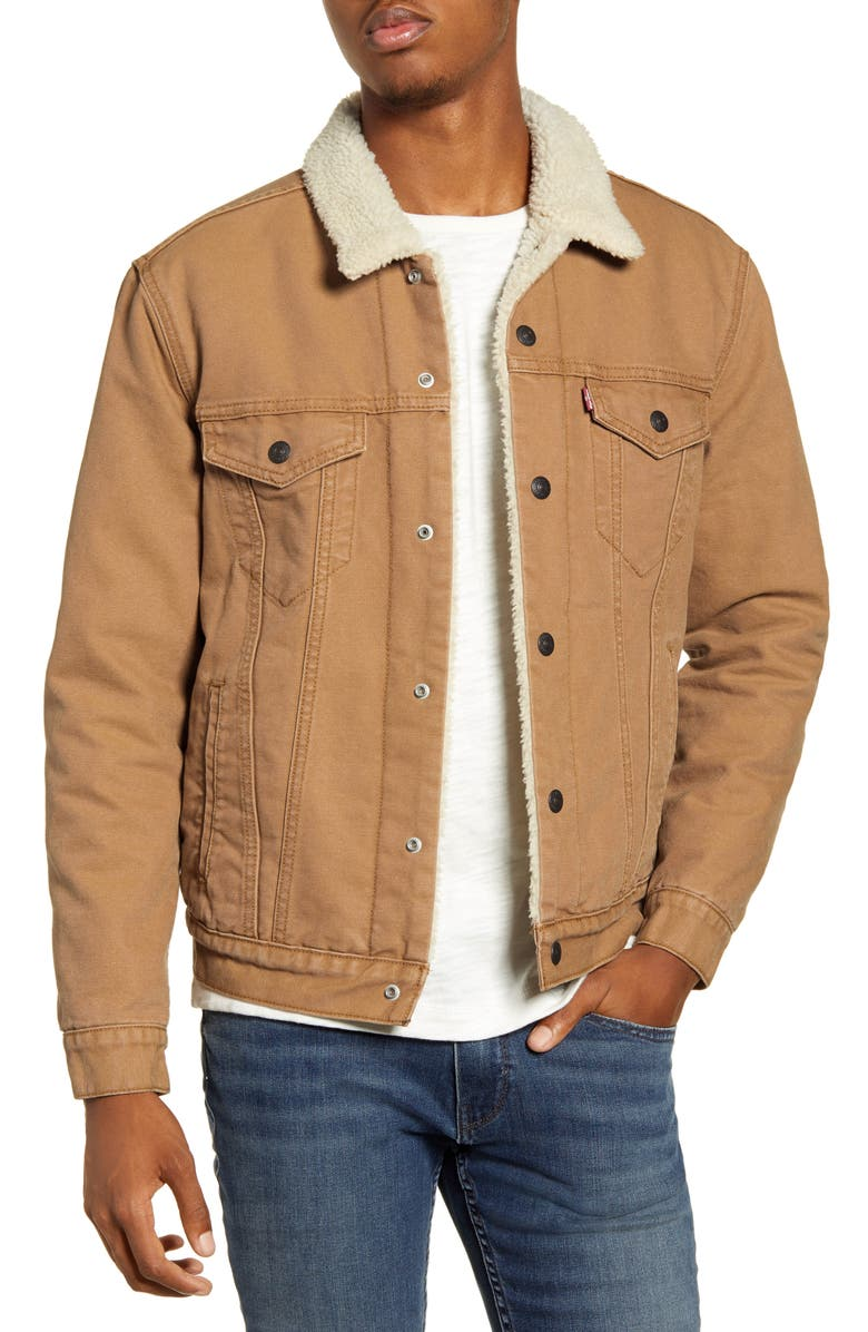 LEVI'S<SUP>®</SUP> Type III Denim Trucker Jacket, Main, color, DESERT BOOTS CANVAS