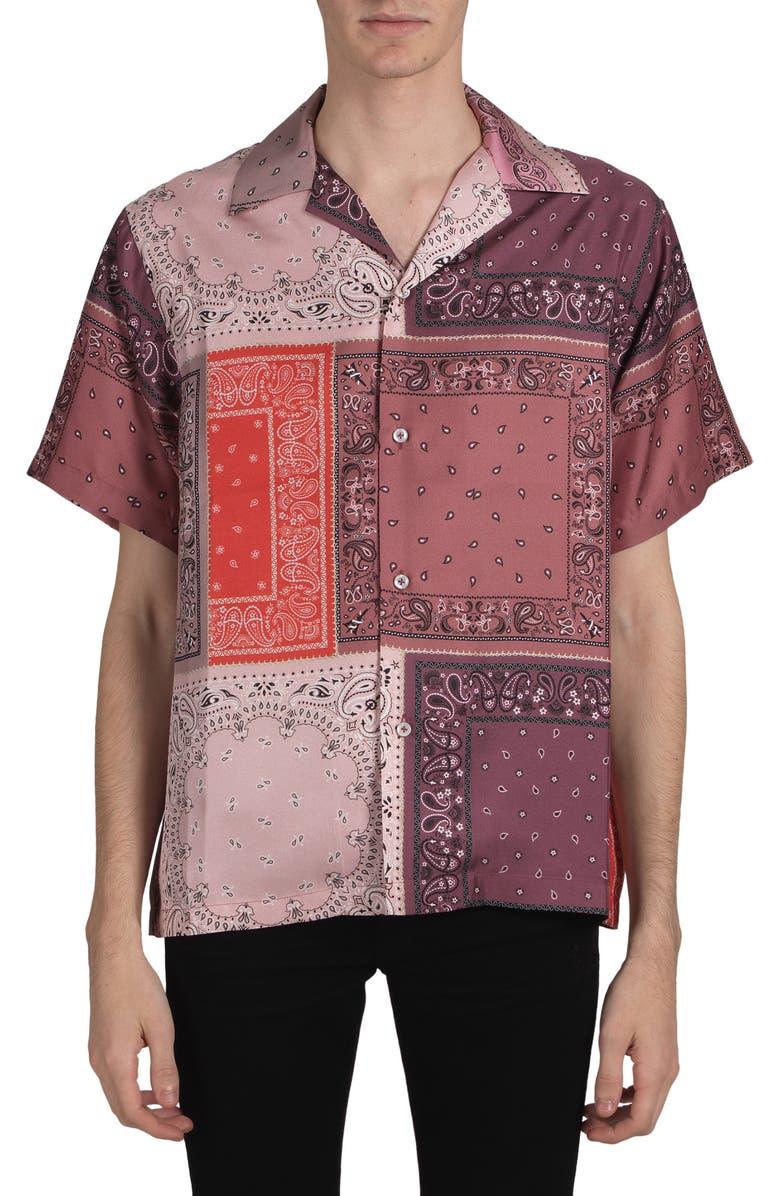 AMIRI Bandana Patchwork Silk Shirt, Main, color, 950