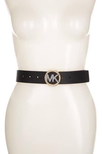Image of Michael Kors Smooth Leather MK Logo Buckle Belt