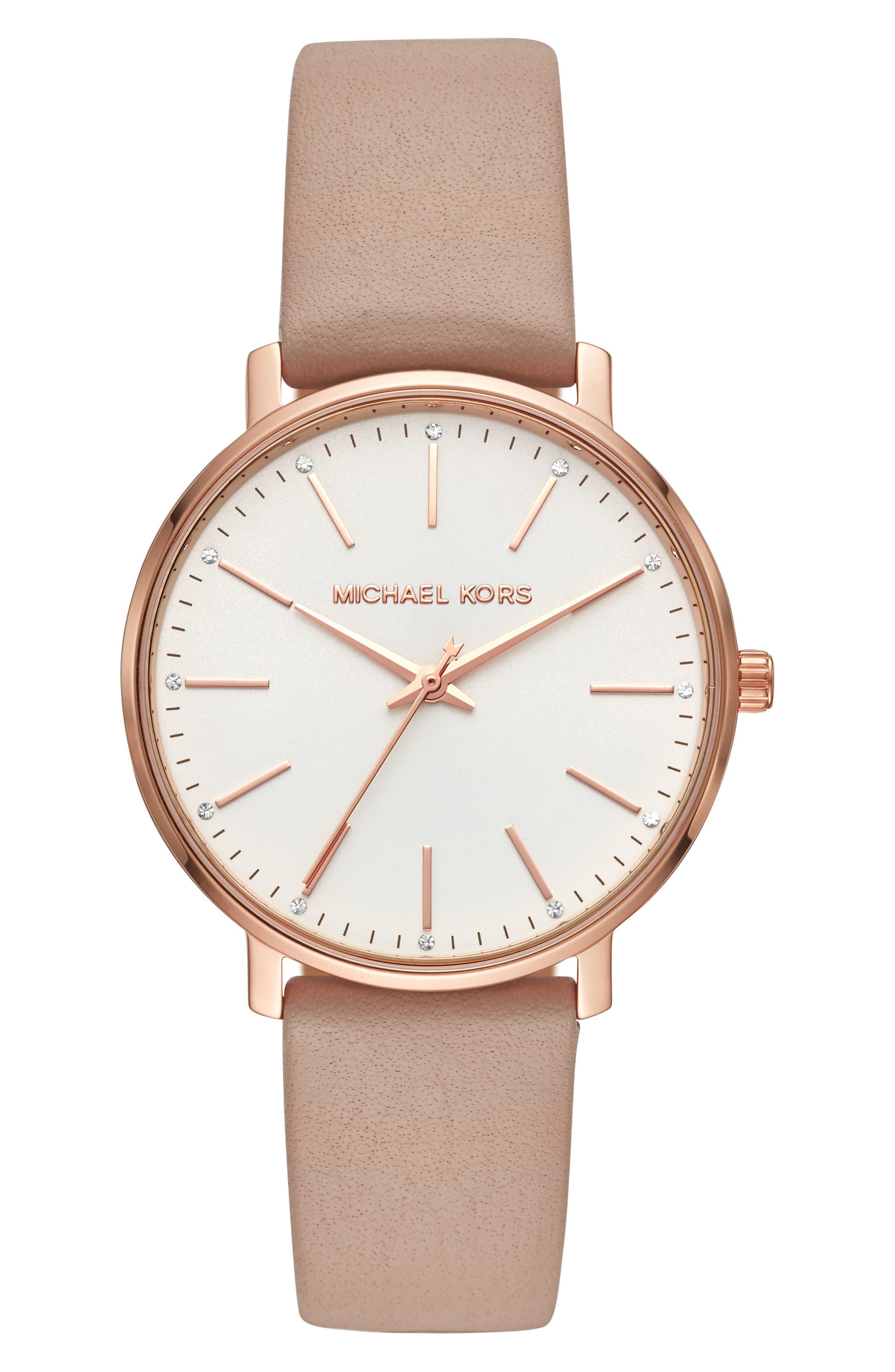 Pyper Leather Strap Watch, 38mm, Main, color, MOCHA/ WHITE/ ROSE GOLD