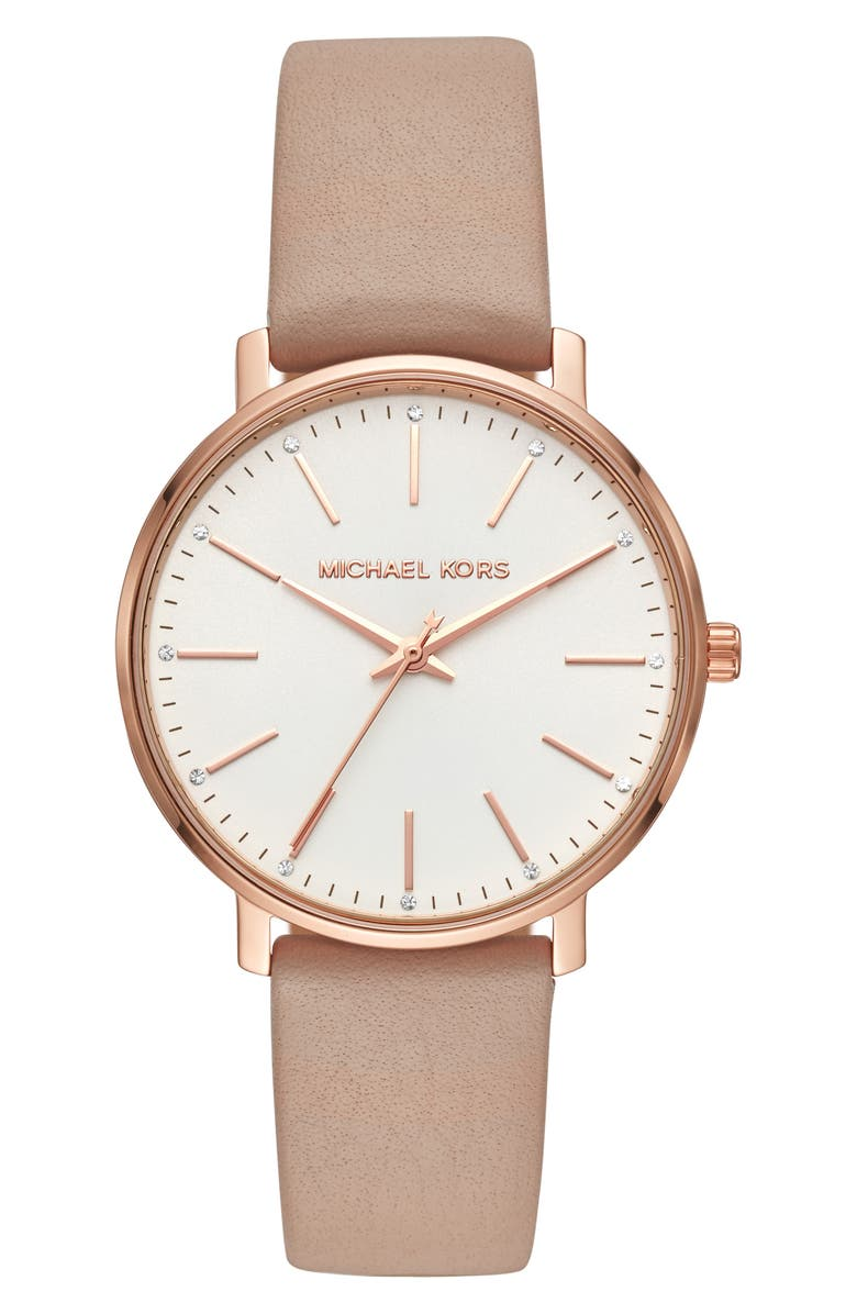 MICHAEL KORS Pyper Leather Strap Watch, 38mm, Main, color, MOCHA/ WHITE/ ROSE GOLD
