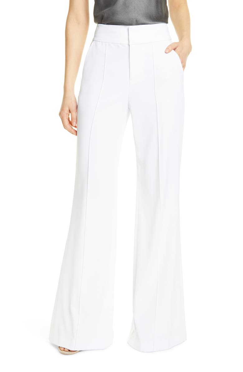 ALICE + OLIVIA Dawn Center Seam Wide Leg Flared Pants, Main, color, WHITE