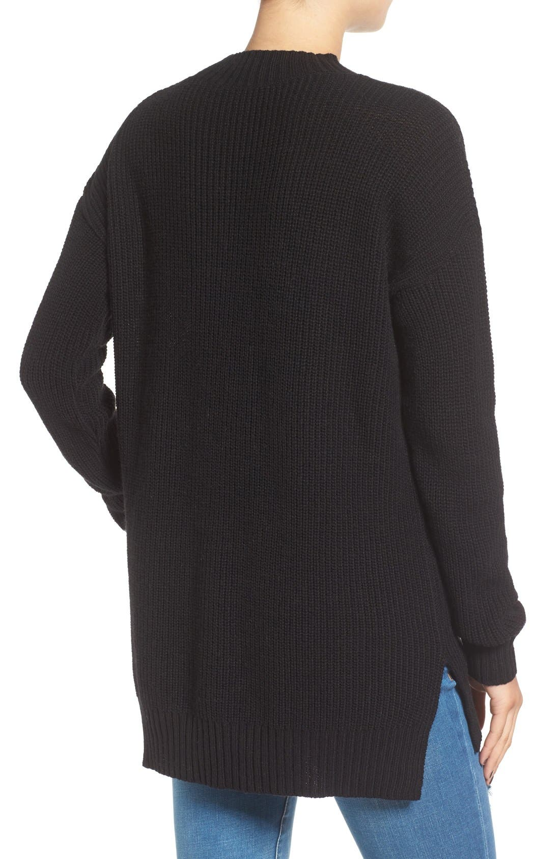 ,                             Ribbed Mock Neck Pullover,                             Alternate thumbnail 5, color,                             001