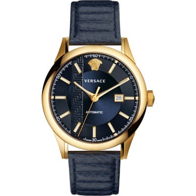 Versace Aiakos Automatic Leather Strap Watch, 4m