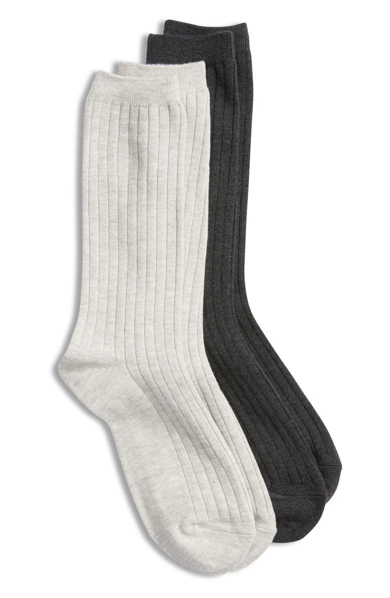 MADEWELL Two-Pack Ribbed Trouser Socks, Main, color, 020