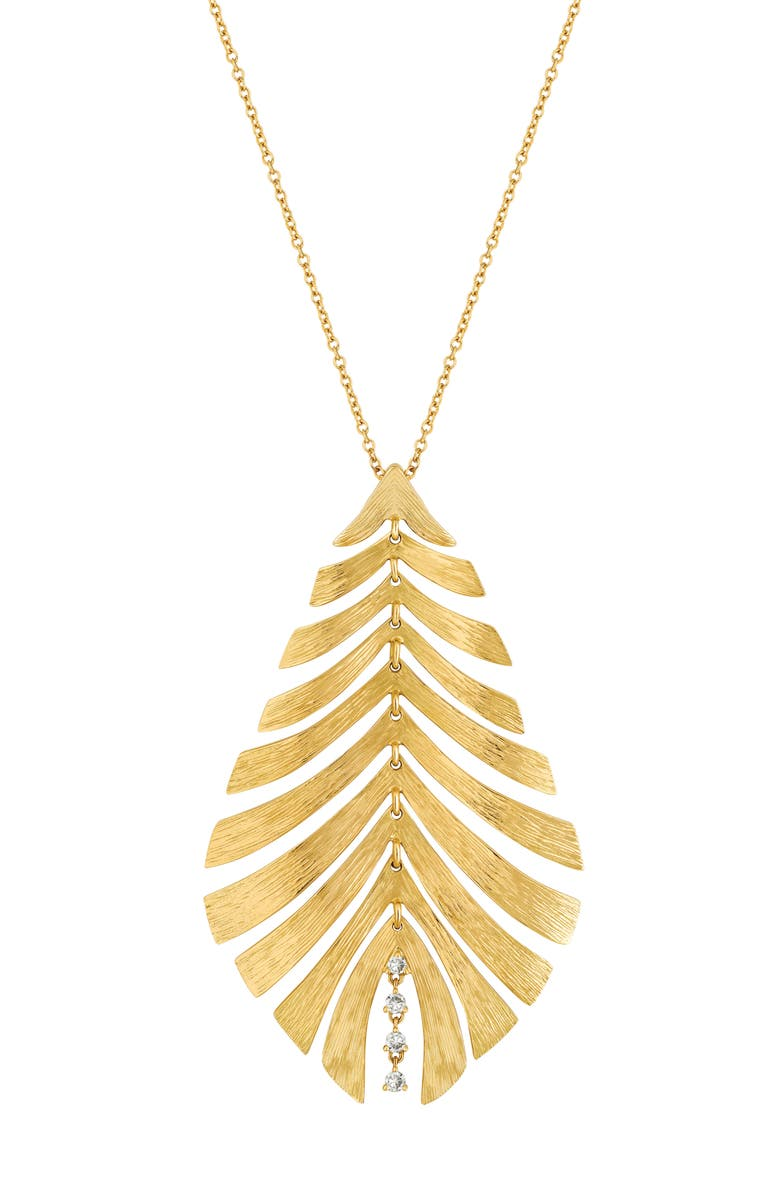 HUEB Bahia Diamond Leaf Pendant Necklace, Main, color, 710