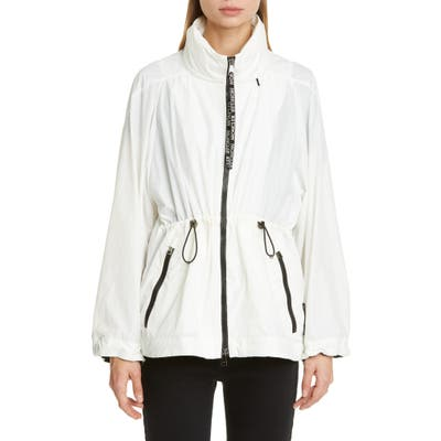 Moncler Cinch Waist Hooded Jacket, White