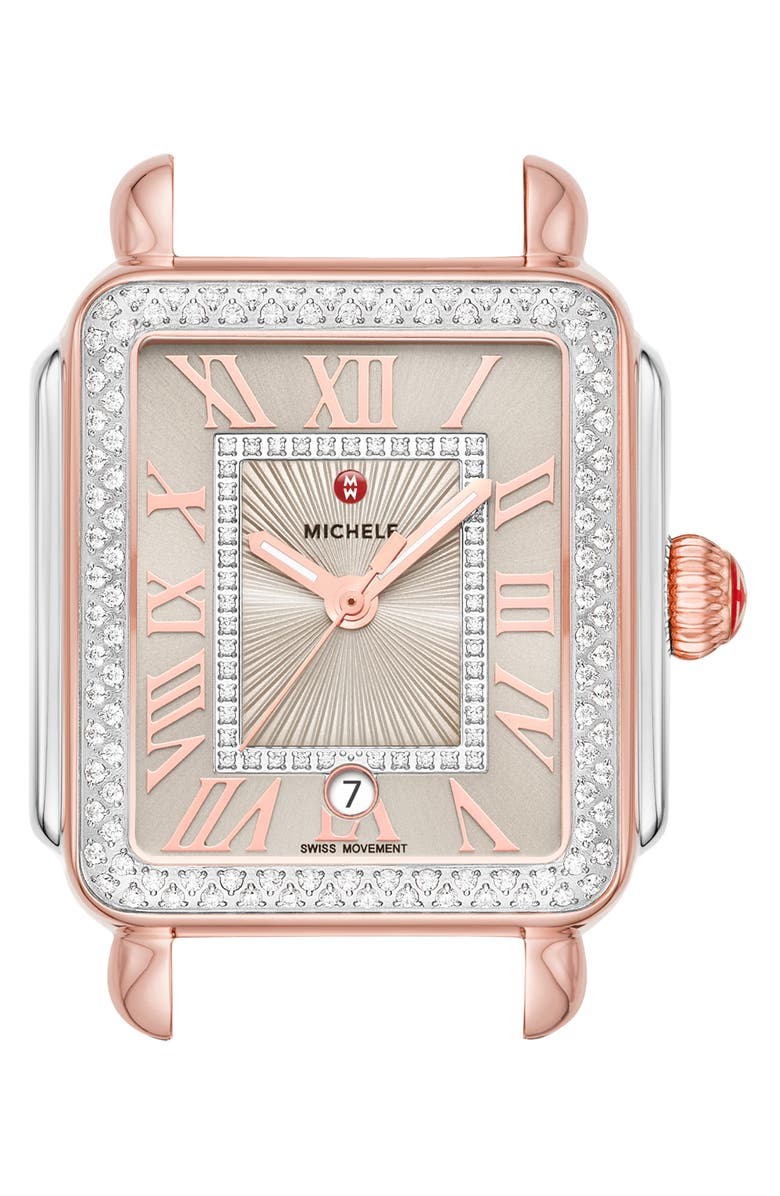 MICHELE Deco Madison Diamond Dial Watch Case, 33mm x 35mm, Main, color, SUNRAY/ SILVER/ PINK GOLD