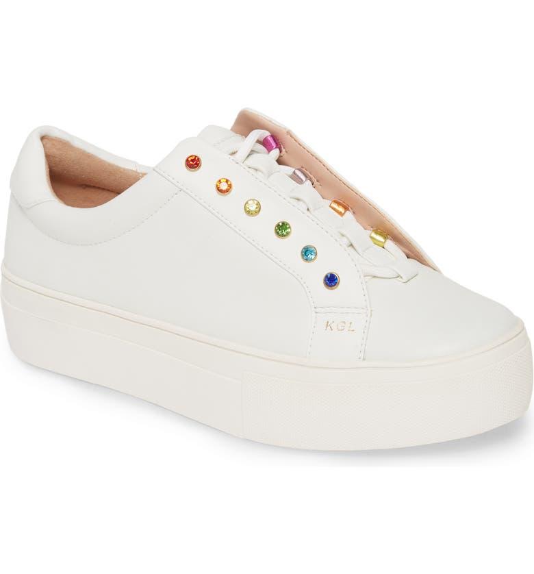 KURT GEIGER LONDON Liviah Platform Sneaker, Main, color, WHITE/ RAINBOW MULTI