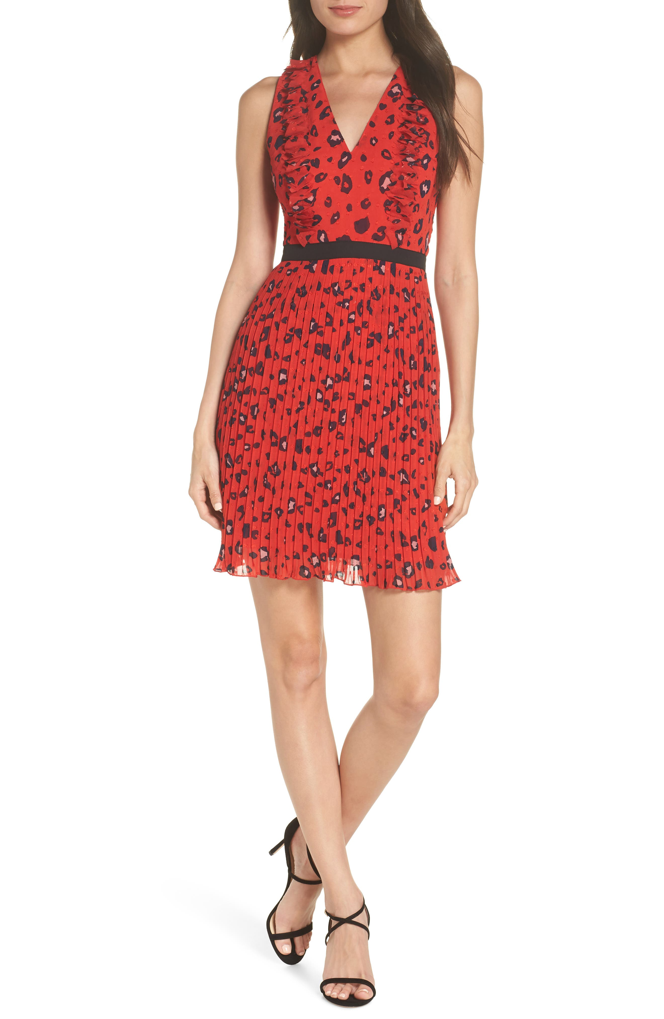 Foxiedox Sassa 3D Fil Coupe Party Dress, Red