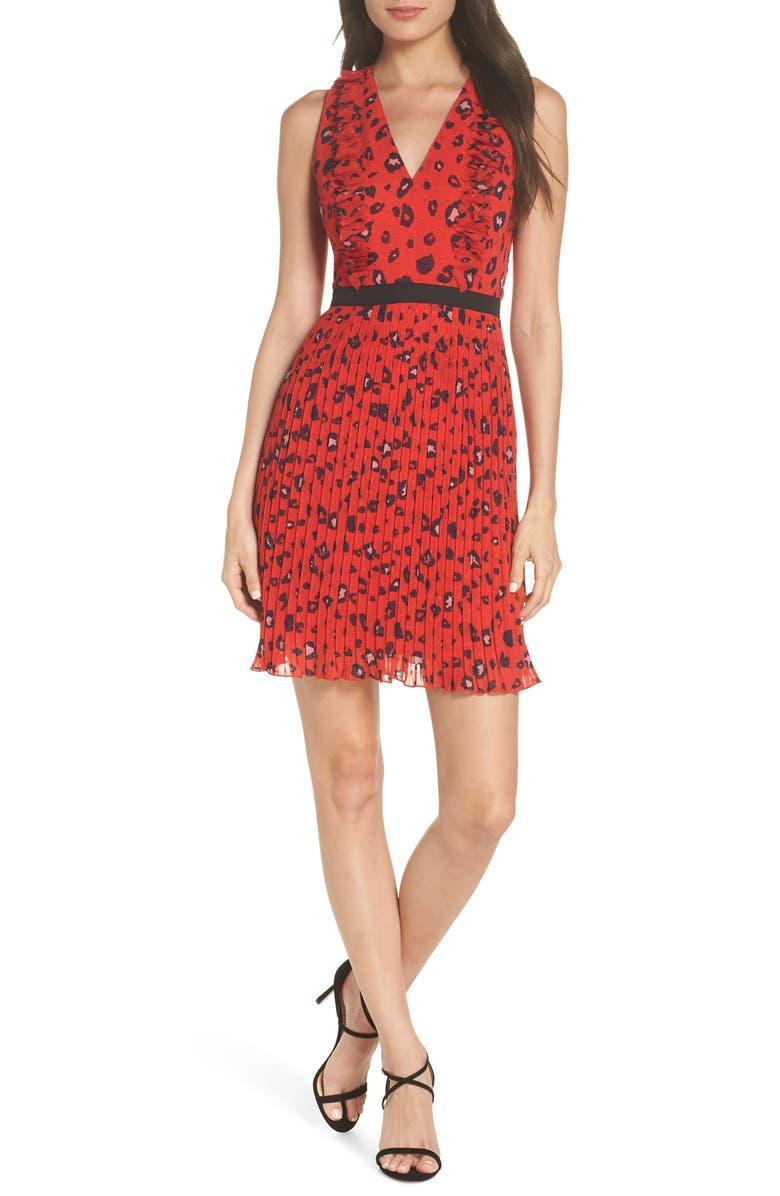 FOXIEDOX Sassa 3D Fil Coupé Party Dress, Main, color, RED LEOPARD MULTI