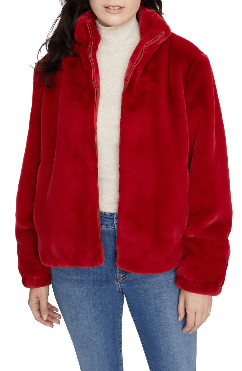 SANCTUARY Sami Faux Fur Jacket, Main, color, PARTY RED