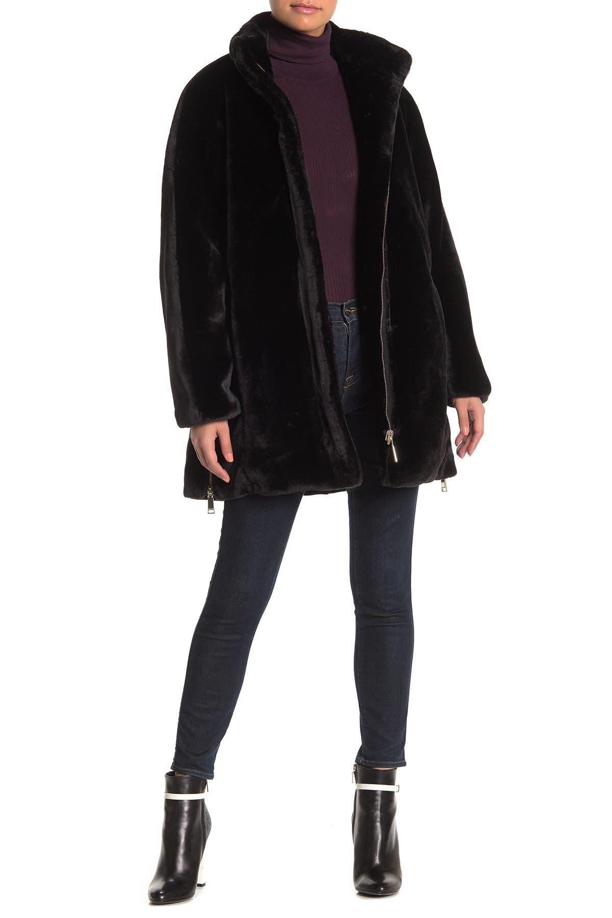 Nine West Plush Faux Fur Zip Hem Coat