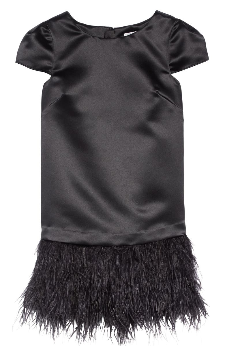 MILLY MINIS Bella Feather Dress, Main, color, 001