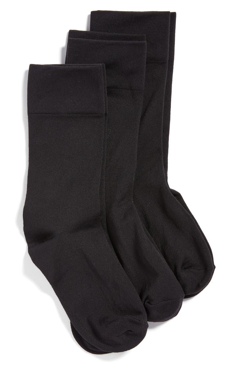 HUE 3-Pack Ultrasmooth Crew Socks, Main, color, BLACK