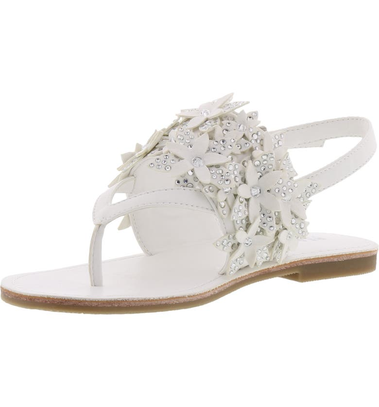 REACTION KENNETH COLE Brie Sweep Crystal Flower Sandal, Main, color, WHITE