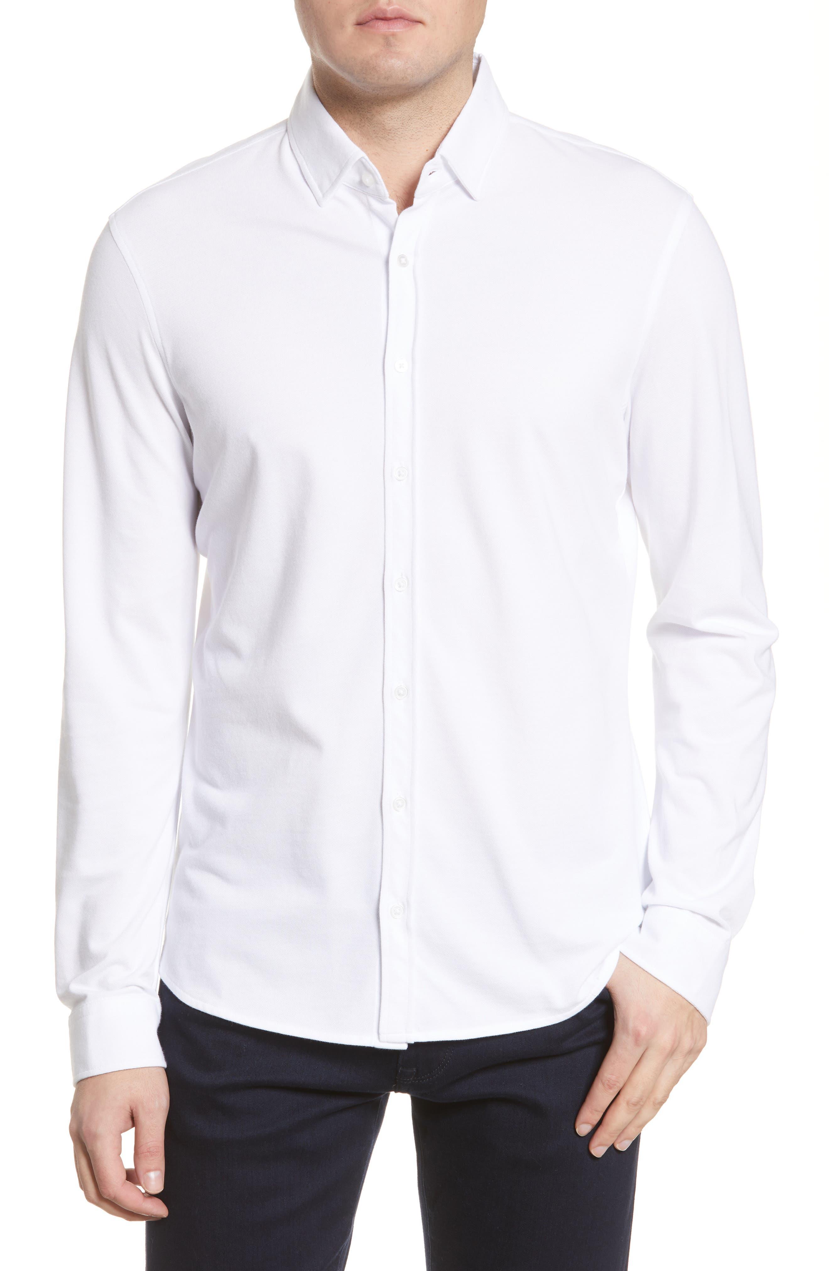 David Modern Fit Hi Flex Jersey Button-Up Shirt