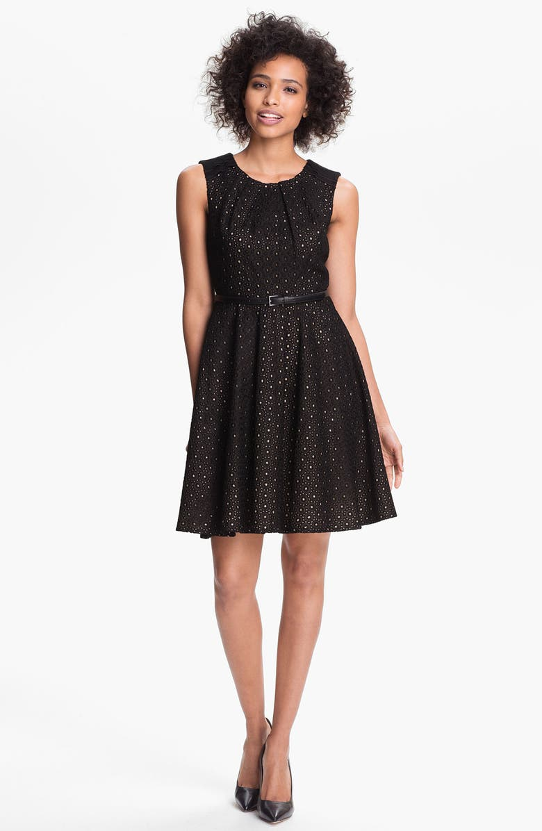 VINCE CAMUTO Lace Fit & Flare Dress, Main, color, 001