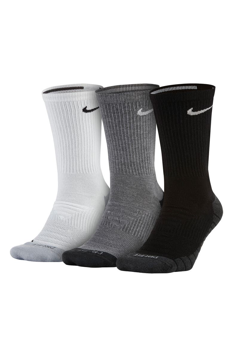 NIKE Everyday Max Cushion 3-Pack Crew Socks, Main, color, 001