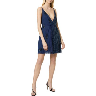 French Connection Aurora Embellished Wrap Dress, Blue