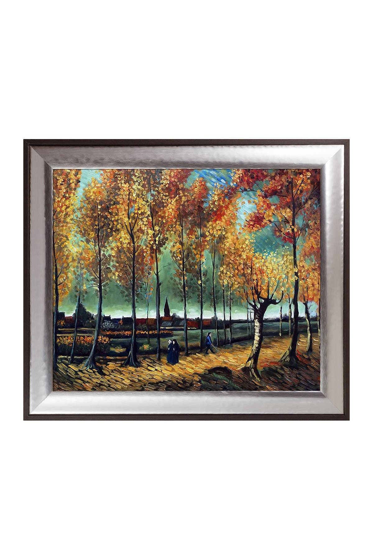 Image of Overstock Art Lane with poplars near Nuenen by Vincent Van Gogh Framed Hand Painted Oil Reproduction
