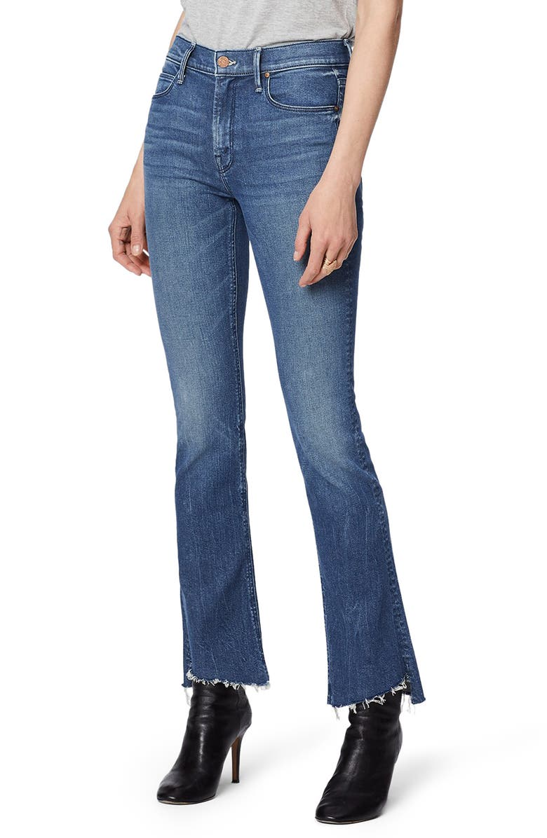MOTHER The Runaway Step Fray Hem Skinny Flare Jeans, Main, color, RUNAWAY TRAIN