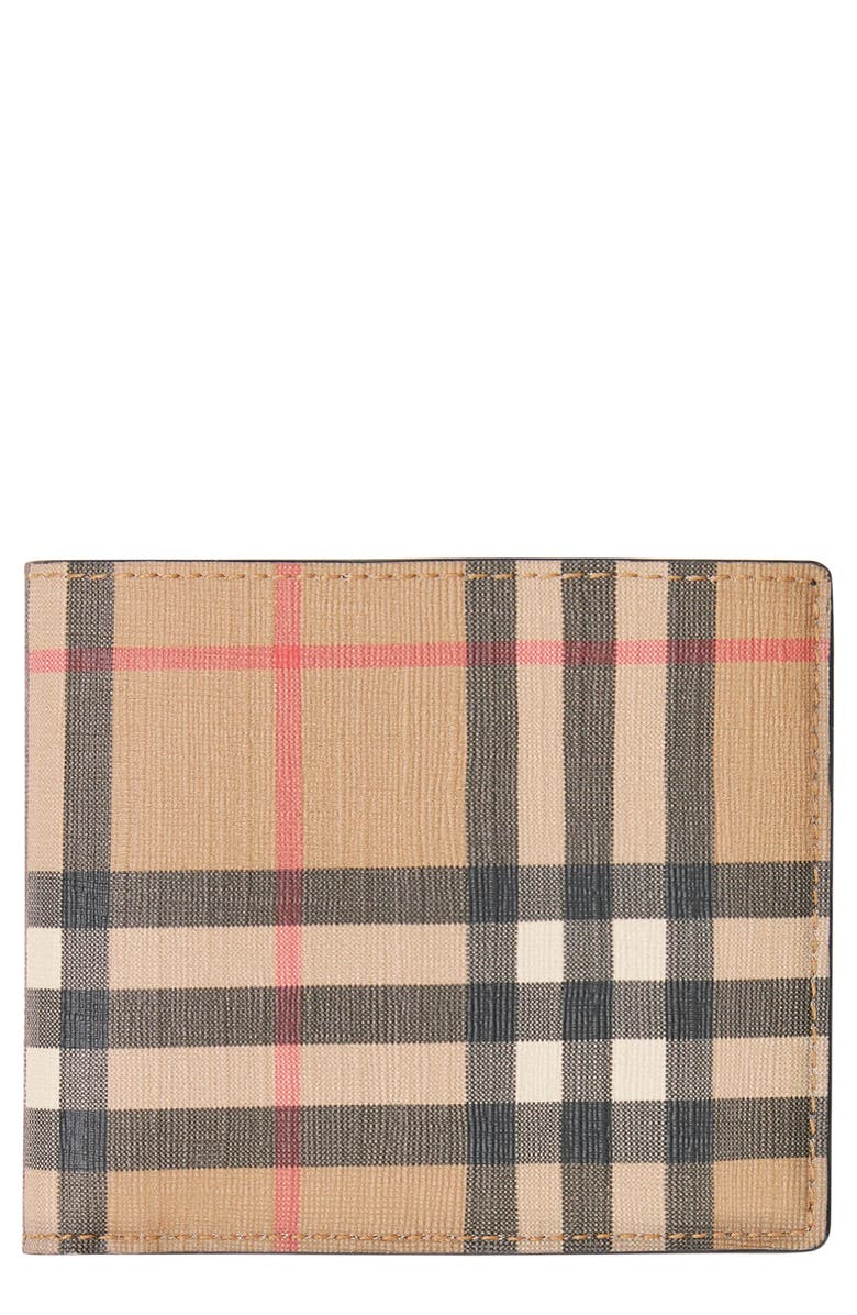 BURBERRY Vintage Check Billfold Wallet, Main, color, BEIGE