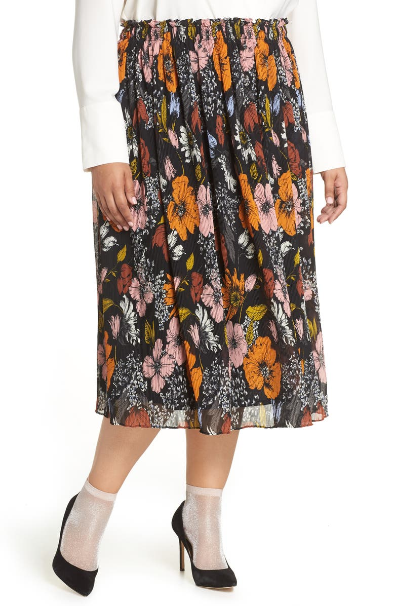 HALOGEN<SUP>®</SUP> x Atlantic-Pacific Crinkle Midi Skirt, Main, color, 001