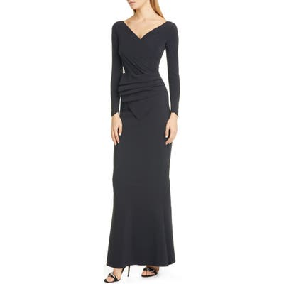 Chiara Boni La Petite Robe Kaya Long Sleeve Ruffle Gown, US / 46 IT - Black