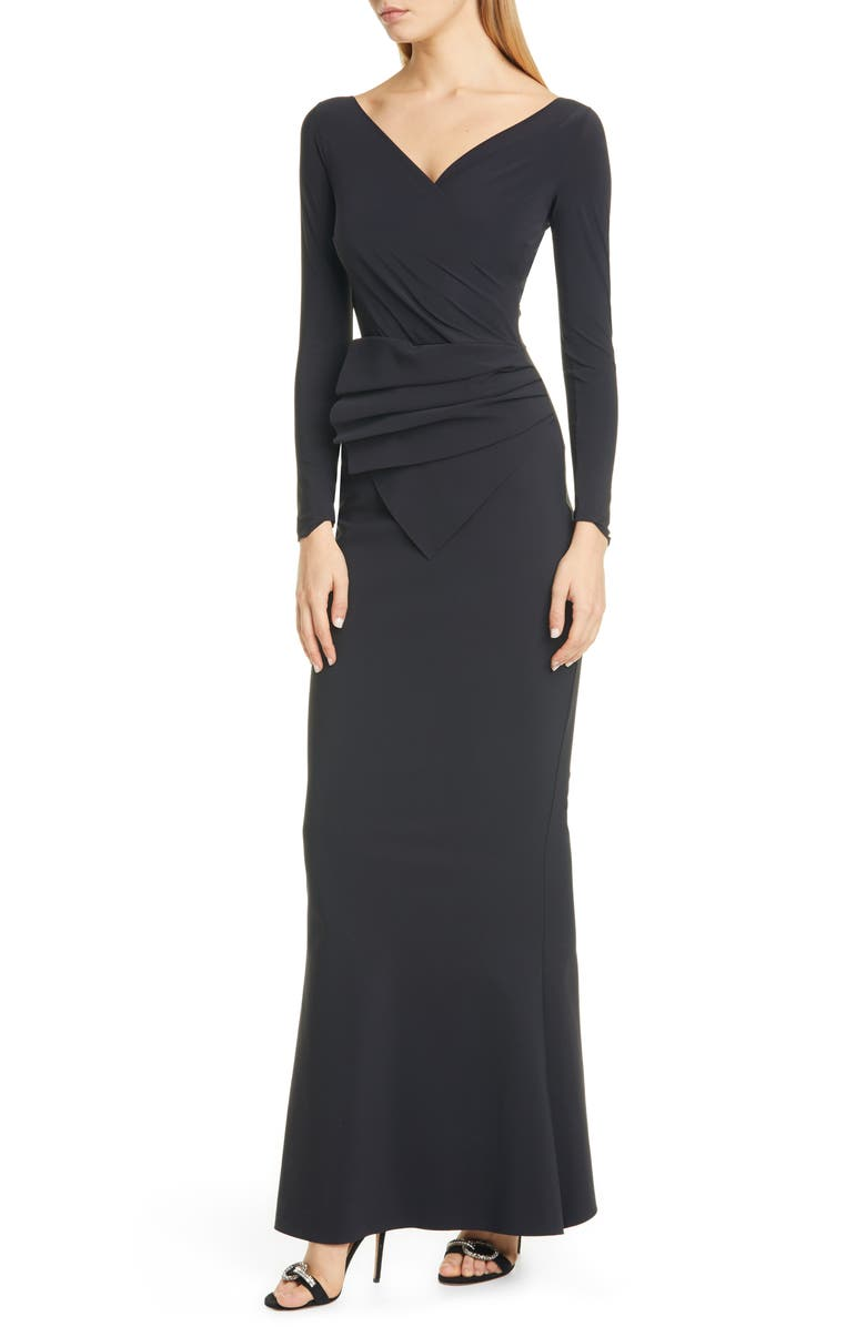 CHIARA BONI LA PETITE ROBE Kaya Long Sleeve Ruffle Gown, Main, color, BLACK