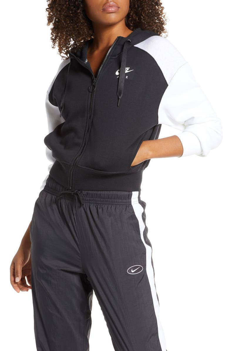 NIKE Air Zip Hoodie, Main, color, BLACK/ BIRCH HEATHER/ WHITE