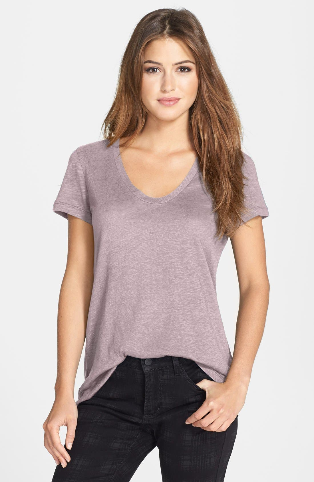 ,                             Relaxed Slub Knit U-Neck Tee,                             Main thumbnail 404, color,                             682