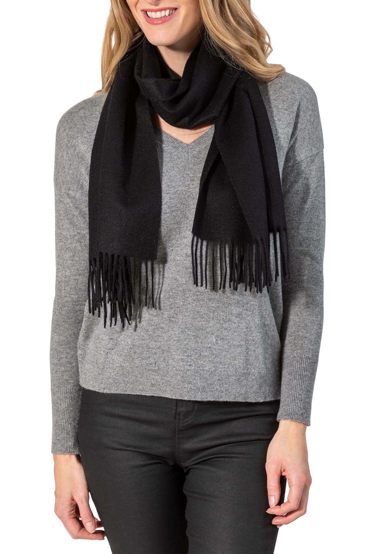 Image of AMICALE Solid Cashmere Wrap - Unisex